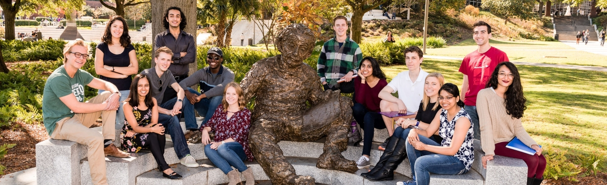 A group of diverse smiling Georgia Tech students