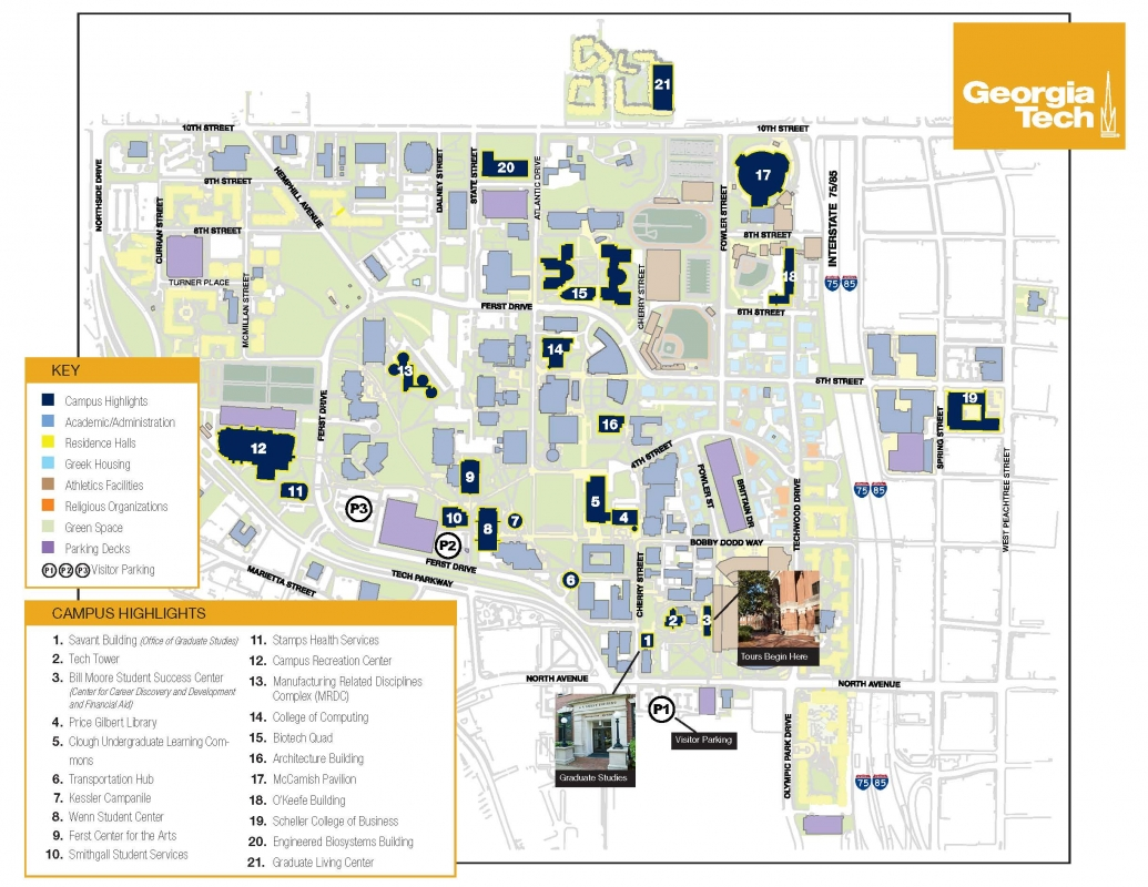 Map Of Georgia Tech Campus.Directions And Parking Graduate Studies Georgia Institute Of